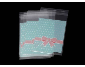 100 stickers blue plastic bags with polka dots and bow