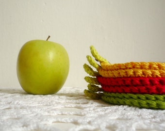 Fruit Apple Coasters - Crochet Coasters - Apple Coasters - Rustic Table Decor - Set of 6 - Gift for Teacher - Wedding Gift - Home Decor