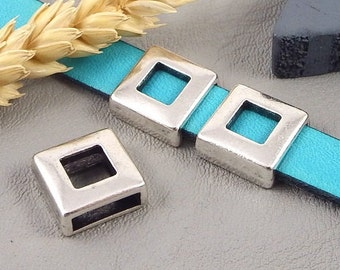 3 busy square hollowed plated silver beads for leather 10mm flat