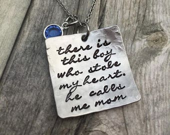 Holiday Sale There's this boy, hand stamped mothers necklace