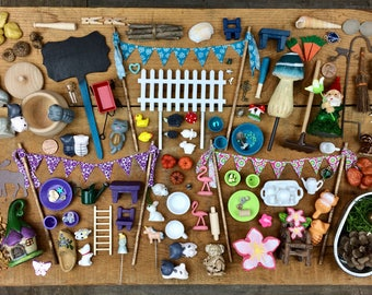 Fairy garden. Fairy Garden accessories grab bag, Deluxe Bag, Miniature garden, Terrarium. Build your own fairy garden. Kids Craft