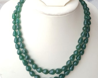 Natural Emerald Necklace ~~~ Smooth Tear Drops ~~~ 371 Carats ~~~ 2 Strands ~~~ Splendid Colour ~~~ Natural Gemstone ~~~78 Pieces