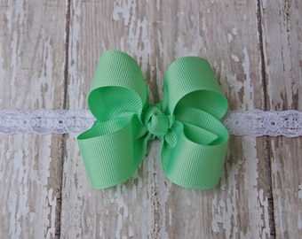 Mint Green Boutique Newborn Lace Headband Infant Preemie Headband Mint Newborn Headband Preemie Hairbow Mint Green
