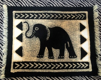 Elephant African Batik Placemats/ Wall Art Set