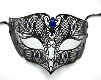 Handsome Mens Masquerade Mardi Gras Metal Filigree Mask in Black with Blue Crystals