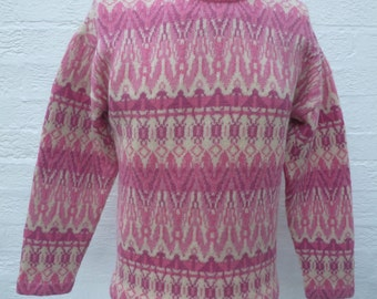 Pink jumper lilac sweater wool clothing winter top womens pink clothes winter sweater jumper knit 90s vintage boho aztex urban top sweden uk