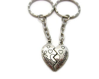 Mother Daughter Keychain Set  Split Heart Keychain Set  Heart Keychain Set  Mothers Day Gift Mom Gift Heart Keychain
