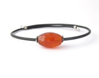 Carnelian Bracelet, Faceted Carnelian Gemstone, Wrap Bracelet, Yoga Bracelet, Zen, Memory Wire Bracelet, Friendship Bracelet, Hawaii Jewelry