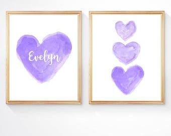 Purple Nursery Set of 2 - 8x10 Watercolor Heart Art, Lavender Nursery Decor, Personalized Nursery Art, Girls Room Decor, Girls Wall Art,