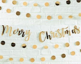 Christmas Banner   Christmas Decoration l Christmas Bunting   Merry Christmas   Christmas Garland   Christmas Party Decoration   Gold Banner