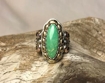 Polished Green Turquoise Sterling Silver Ring with Brass and Copper Accents