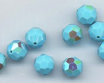Twelve Swarovski crystals in the rare discontinued color turquoise - Art. 5000 - 8 mm - turquoise AB