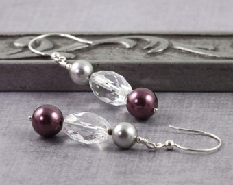 Prom Fashion Burgundy Earrings Gray Pearl Earrings Crystal Quartz Gemstone Jewelry Wedding Jewelry Bridal Jewelry Mothers Day Jewelry