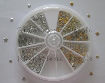 500pcs gold and silver nail studs in a storage wheel, nail art, 3D nail design
