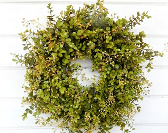 Farmhouse Decor-Fall Wreath-Eucalyptus Wreath-Boxwood Wreath-Housewarming Gift-Door Wreath-Outdoor Wreath-Year Round Wreath-Home Decor-Gifts