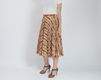 SALE 60% OFF 70s Cleopatra permanent press street style high waisted midi skirt / size L