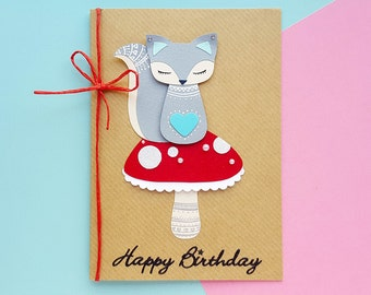 Handmade Squirrel Birthday Card | Personalised | Cute Birthday Card, Kawaii Birthday Card | Cards for Her, Cards for Friends, Sister Cards