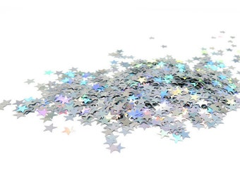 800 Tiny Star Confetti, Holographic, 1/4 Inch