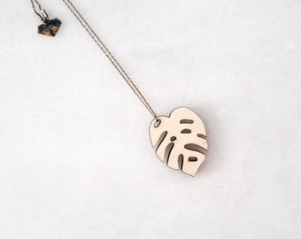 Monstera single necklace wood.  Monstera deliciosa plant lovers