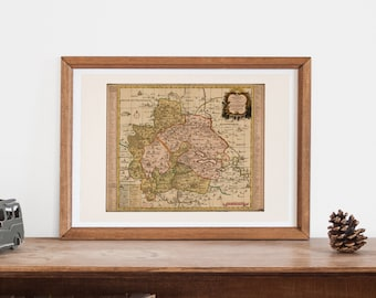 ANTIQUE GERMANY MAP -  Map of Mansfelt,  Historical German Map, Antique Map Wall Art