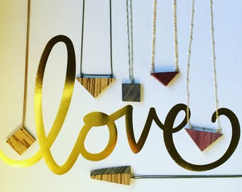 Geometric wood diffuser necklaces