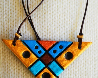 Colourful classy handmade wooden necklace for women