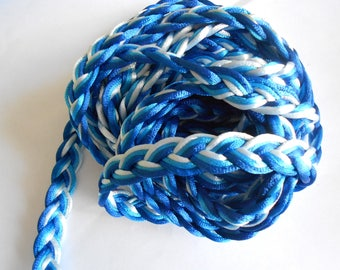 1 meter of blue, turquoise and white braided cord