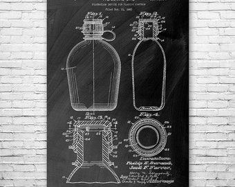 Water Canteen Camping Poster Art Print, Canteen Poster, Camping Art, Canteen Patent, Water Bottle, Camping Gift, Hiking Gift, Survival Gift