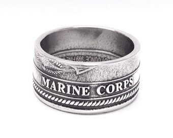 Silver US Armed Forces Challenge Coin Ring