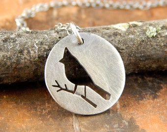 Cardinal necklace, Ready-To-Ship! Silver bird necklace, *Oxidized finish* hand-cut sterling silver bird pendant, cardinal charm.