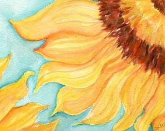 Sunflowers original watercolor painting flowers, Sunflower art decor 5 x 7
