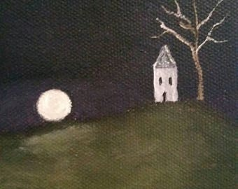 House On A Hill - Oil Painting