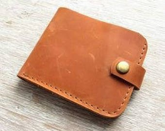 Handmade leather wallet in brown color with coin pocket, Crazy Horse leather wallet, Mens leather wallet, Minimalist wallet, Card holder