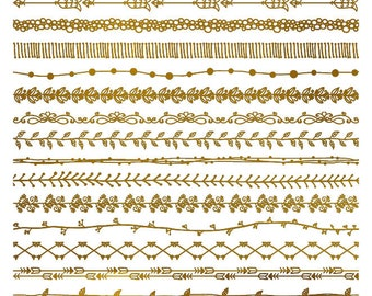 Decorative Metallic Gold Lines - Ceramic Waterslide Decal - Enamel Decal - Fusible Decal - 2378495