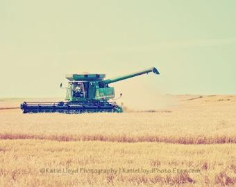 Kansas Wheat Harvest Art Print - Landscape Photography - Midwest Farmer - Country Home Decor Photo - Farming Art Print - Wheat Art