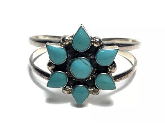 Fine Estate Sterling Silver Turquoise Mexican Cuff Bracelet