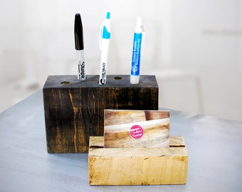 Pen & Pencil Holder, Wood Desk Organizer, Natural Wood, Office Decor, Desk Decor, Wood Pen Holder, Desk Storage, Office Supplies - FREE Ship