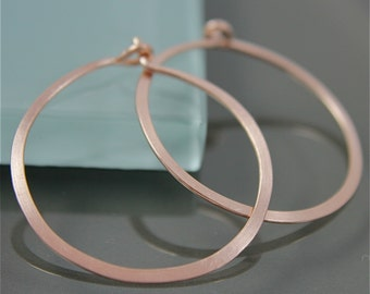 "Rose Gold Hoops 1"" Rose Gold Filled Flat Hammered Satin Hoop Earrings"