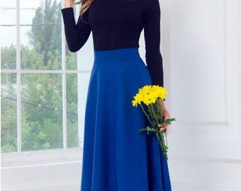Blue Midi skirt Flared Viscose Woman skirt Royal Blue Half Circle Skirt