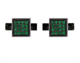 Blackened silver cuadrado cufflinks emerald