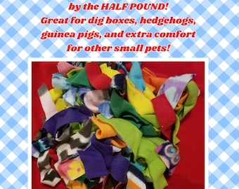 Fleece Strips by the HALF POUND! Great for dig boxes or for small pets to stay cozy!