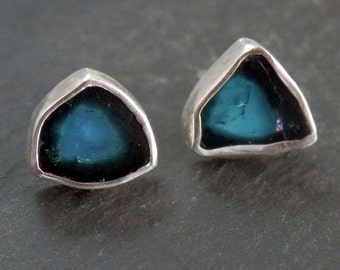 Blue tourmaline earrings / blue tourmaline slice / tourmaline jewelry / tourmaline earrings / watermelon slice / indicolite / gift for her