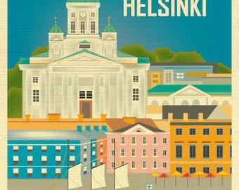 Helsinki Art, Helsinki Skyline Print, Finland Wall Art, Helsinki, Finland Travel Print, Helsinki Nursery Art, Loose Petals style - E8-O-HEL