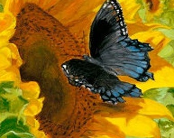 Sunflower with Butterfly print