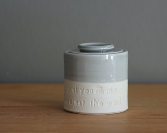 customized urn quote, pet urn or urn for human ashes. small urn, modern pet urn or human ashes urn. dove grey, white porcelain. heart stamp