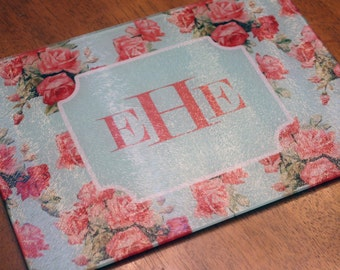 Shabby Chic Monogram -  Tempered Glass Cutting Board - Mint and Coral Roses