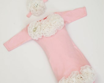 Newborn Infant Layette Pink Baby Gown with Off White Chiffon Flowers and Rhinestones