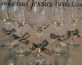 Personalized Wine Glasses, Wedding Glasses, Mother of bride, Father of the Bride, Bridal Party, Bride and Groom, Custom Wine Glasses