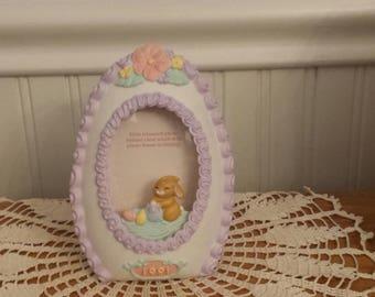 Adorable Vintage 1991 EASTER Bunny PICTURE FRAME, Easter Decor, Easter Egg, Gift Idea, Standing Frame, Shelf Decor, Easter Decoration