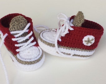Baby shoes, sneakers & sneakers, Babychucks, crocheted, Red